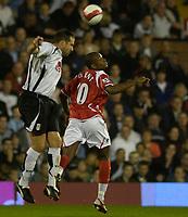 Photo: Daniel Hambury.<br />Fulham v Charlton Athletic. The Barclays Premiership. 16/10/2006.<br />Fulham's Ian Pearce beats Charlton's Darren Bent to the ball.