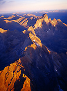 Aerial view of the spine of the Tombstone Range leading toward Tombstone Mountain, Tombstone Territorial Park, Yukon Territory, Canada.