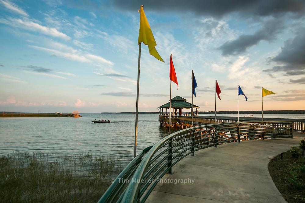 Pier at Cypress Bend Park on Toledo Bend Lake in Sabine Parish, Louisiana.