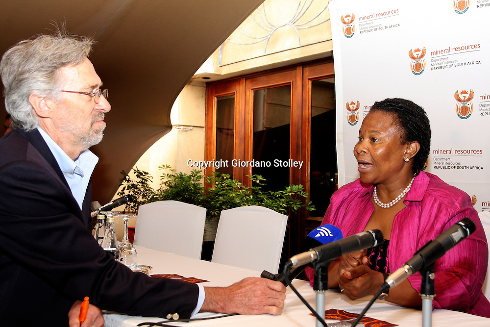 PRETORIA - 15 November 2010 - South Africa's Mineral Resources minister Susan Shabangu is interviewed by the South African Broadcasting Corporation journalist Attie Schoch on the audit of  prospecting licences granted by her department.-- APP/Allied Picture Press