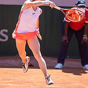 PARIS, FRANCE May 31. Tamara Zidansek of Slovenia in action during her victory against Bianca Andreescu of Canada on court fourteen during the first round of the singles competition at the 2021 French Open Tennis Tournament at Roland Garros on May 31st 2021 in Paris, France. (Photo by Tim Clayton/Corbis via Getty Images)