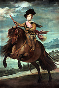 Prince Baltasar Carlos on Horseback' 1634/1635. Oil on board.   Portrait by Diego Velasquez (1599-1660) Spanish painter.  Baltasar Carlos (1629-1646) Prince of Asturias and Portugal, eldest son of Philip IV of Spain.