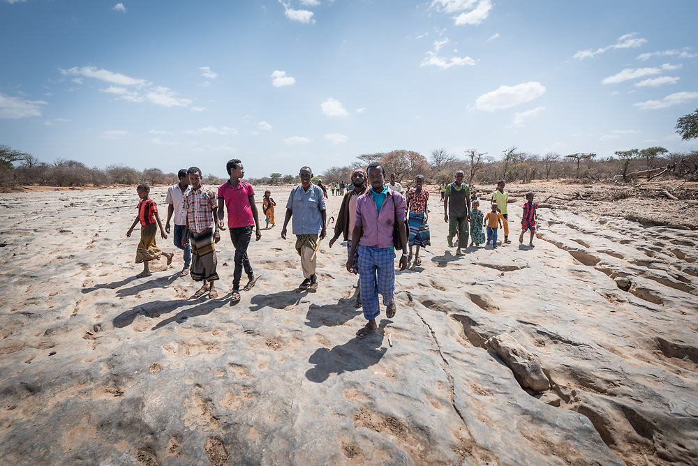 27 January 2019, Burka Dare IDP site, near Micha, Seweyna woreda, Bale Zone, Oromia, Ethiopia: A group of Oromo IDPs walk on the dry riverbed near Burka Dare IDP site in Seweyna woreda (administrative unit), Bale Zone, Ethiopia. The Lutheran World Federation supports internally displaced people in several regions of Ethiopia, through emergency response on water, sanitation and hygiene (WASH) as well as long-term development and empowerment projects, to help build resilience and adapt communities' lifestyles to a changing climate.