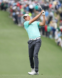 April 7, 2018 - Augusta, GA, USA - Jordan Spieth hits from the 1st fairway during the third round of the Masters Tournament on Saturday, April 7, 2018, at Augusta National Golf Club in Augusta, Ga. (Credit Image: © Jason Getz/TNS via ZUMA Wire)