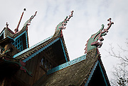 "BLUE MOUNDS—November 7, 2014: The view of the Norway Building, with dragon-adorned roof and modeled after a 12th Century Norwegian Church or ""stavkirke"" at ""Little Norway"".<br />