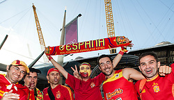 © Licensed to London News Pictures. 08/08/2012. London, UK.  Spanish basketball fans celebrate a 66-59 win over France in the quarter finals at the London 2012 Olympics at the North Greenwich Arena. Photo credit : Richard Isaac/LNP