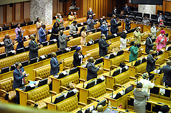 Cape Town. 151020. Social distancinng and wearing of masks in Parliament during  a special session where President Cyril Ramaphosa's  delivered Government's economic recovery plan for Soutrh Africa. The President also extended the special Covid-19 grant to January and promises 800 000 new job opportunities during his address to Parliament regarding South Africa's economice recovery plan. Picture: Ian Landsberg/African News Agency (ANA).