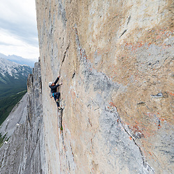 Dexter Bateman climbing The Shining. 5.13+  on Mt Louis
