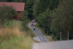 The break rides on the second gravel section of the Crescent Vargarda - a 152 km road race, starting and finishing in Vargarda on August 13, 2017, in Vastra Gotaland, Sweden. (Photo by Balint Hamvas/Velofocus.com)