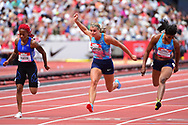 Dafne Schippers (NED) heads for the line and takes second place in the Women 100m final during the Muller Anniversary Games at the London Stadium, London, England on 9 July 2017. Photo by Jon Bromley.