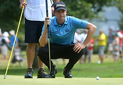 August 12, 2018 - St. Louis, Missouri, U.S. - ST. LOUIS, MO - AUGUST 12: Webb Simpson lines up his putt on the #1 green during the final round of the PGA Championship on August 12, 2018, at Bellerive Country Club, St. Louis, MO.  (Photo by Keith Gillett/Icon Sportswire) (Credit Image: © Keith Gillett/Icon SMI via ZUMA Press)