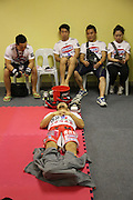 """Dae Hwan Kim, Kamma Bantam weight champion,  in locker room before fight<br /><br />MMA. Mixed Martial Arts """"Tigers of Asia"""" cage fighting competition. Top professional male and female fighters from across Asia, Russia, Australia, Malaysia, Japan and the Philippines come together to fight. This tournament takes place in front of a ten thousand strong crowd of supporters in Pelaing Stadium. Kuala Lumpur, Malaysia. October 2015"""
