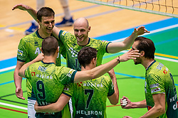 Tijmen Laane of Orion, Jasper Diefenbach of Orion celebrate during the semi cupfinal between Active Living Orion vs. Amysoft Lycurgus on April 03, 2021 in Saza Topsportshall Doetinchem