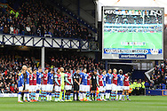 the players from both teams line up as the French national anthem - La Marseillaise is played prior to kick off. Barclays Premier League match, Everton v Aston Villa at Goodison Park in Liverpool on Saturday 21st November 2015.<br /> pic by Chris Stading, Andrew Orchard sports photography.