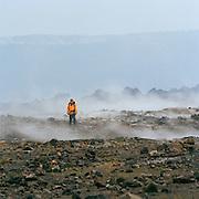 A man standing in Hawaii Volcanoes National Park, Hawaii, USA