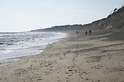 Dunwich beach and cliffs, North Sea coast, Suffolk, East Anglia, England. Rapidly eroding soft sandy cliffs illustrate how Dunwich, at one time one of the largest towns in England was lost to the sea.