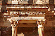 Portico & Ionic columns of the Bath Gymnasium complex of Sardis, a typical example of the colonnaded palaestra front of a Hellenistic 1st cent. AD Greco Roman baths of the western & southern region of Anatolia. Sardis archaeological site, Hermus valley, Turkey. A Harvard Art Museum excavation project. .<br /> <br /> If you prefer to buy from our ALAMY PHOTO LIBRARY  Collection visit : https://www.alamy.com/portfolio/paul-williams-funkystock/sardis-archaeological-site-turkey.html<br /> <br /> Visit our CLASSICAL WORLD HISTORIC SITES PHOTO COLLECTIONS for more photos to download or buy as wall art prints https://funkystock.photoshelter.com/gallery-collection/Classical-Era-Historic-Sites-Archaeological-Sites-Pictures-Images/C0000g4bSGiDL9rw
