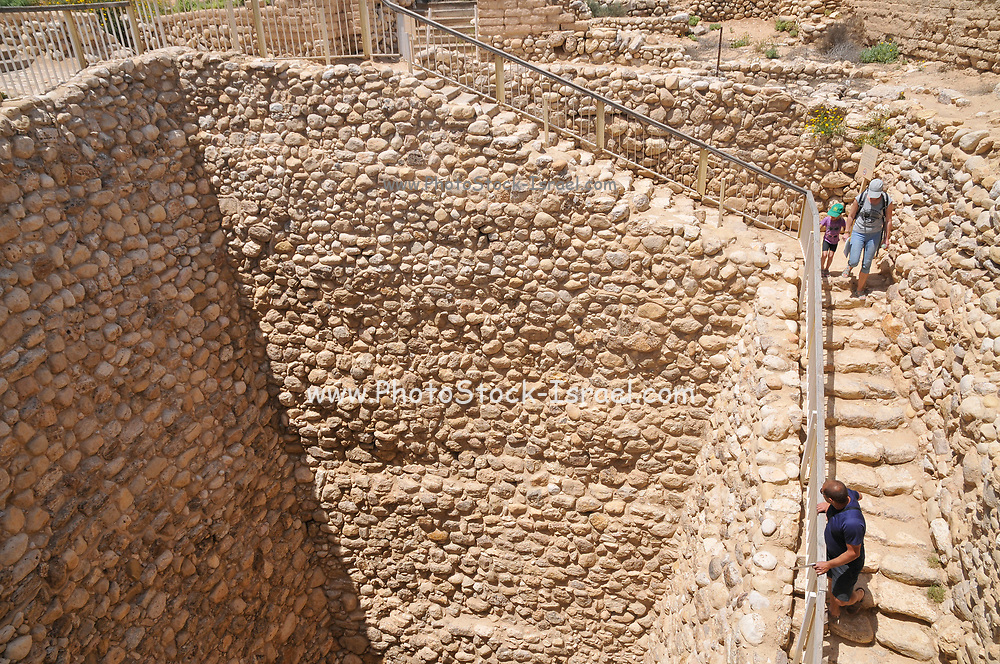 Israel, Negev, Tel Be'er Sheva believed to be the remains of the biblical town of Be'er Sheva. The water system collected flood water from the nearby Hebron stream to supply the city during a siege. The stone walled shaft