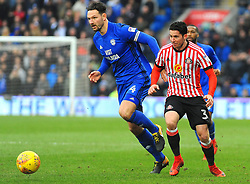 Sean Morrison of Cardiff City jostles with Bryan Oviedo of Sunderland- Mandatory by-line: Nizaam Jones/JMP- 13/01/2018 -  FOOTBALL - Cardiff City Stadium - Cardiff, Wales -  Cardiff City v Sunderland - Sky Bet Championship