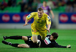 Jernej Smukavec of Domzale vs Matej Radan of Maribor during football match between NK Domzale and NK Maribor in final match of Hervis Cup, on May 25, 2011 in SRC Stozice, Ljubljana, Slovenia. Domzale defeated Maribor and became Slovenian Cup Champion 2011. (Photo By Vid Ponikvar / Sportida.com)