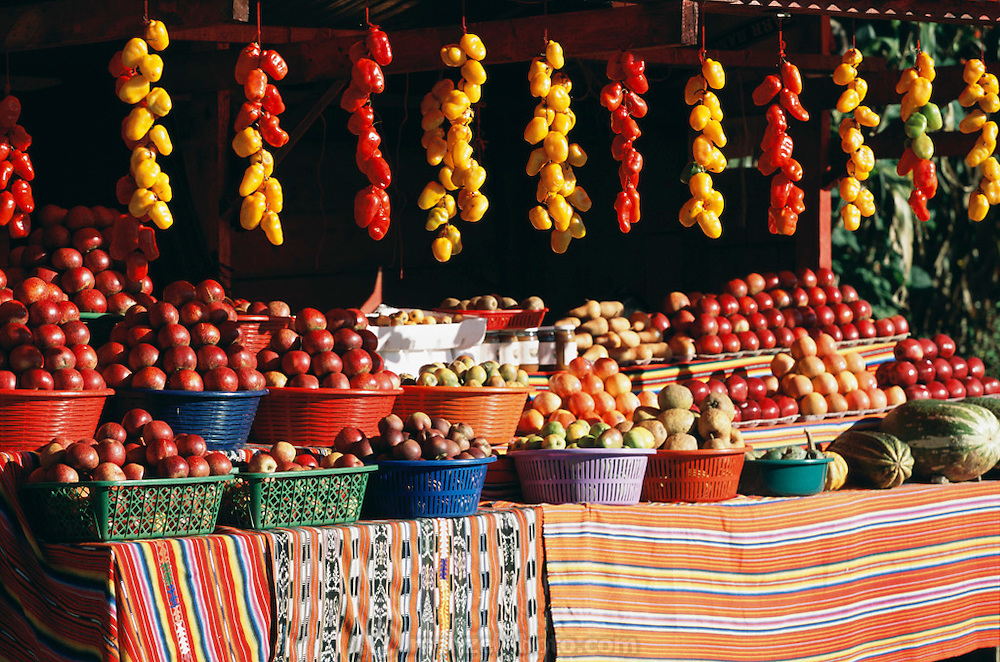 Vegetable stand near Chichicastemango, Guatemala.