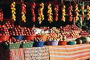 Vegetable stand near Chichicastemango, Guatemala.