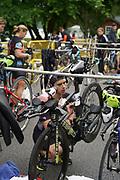 Chris Hague preps his bike before  the 2018 Hague Endurance Festival Olympic Triathlon