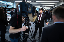 "© Licensed to London News Pictures. 07/01/2019. Manchester, UK. The Metro Mayor of Greater Manchester ANDY BURNHAM speaks to media after announcing a revised plan for new housing (some on greenbelt land) , transport infrastructure , the reduction of pollution and improvements to the environment across the North West , alongside the regeneration of Stockport Town Centre , at an event at etc Venues in Manchester City Centre . The new "" Spatial Framework "" also reaffirms the region's commitment to ban fracking and lists 50,000 new "" affordable "" homes (30,000 of which are specified as social housing) . Photo credit: Joel Goodman/LNP"