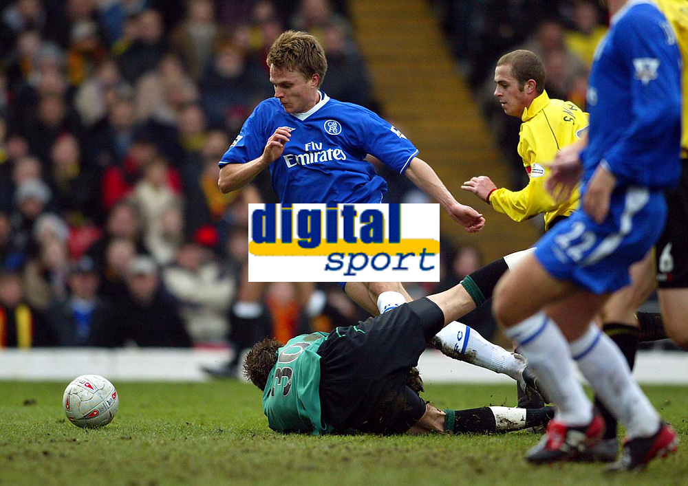 Photograph: Scott Heavey.<br /> Watford v Chelsea. FA Cup Third Round. 03/01/2004.<br /> Jesper Gronjkaer is brought down in the box by Lenny Pidgeley to earn Chelsea a penalty