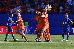 June 30, 2019 - Valenciennes, France - Lieke Martens, Merel Van Dongen, Sherida Spitse, Desiree Van Lunteren, Dominique Bloodwrth, Stefanie Van Der Gragt of Netherlands Women's National Football team celebrate the win of the quarter-final between in ITALY and NETHERLANDS the 2019 women's football World cup at Stade du Hainaut, on the 29 June 2019. (Credit Image: © Julien Mattia/NurPhoto via ZUMA Press)