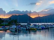 Sunset, Kaneohe Bay, Oahu, Hawaii