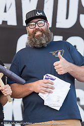 Joe Mielke gives out an award at the Harley-Davidson Editors Choice Custom Bike Show during the annual Sturgis Black Hills Motorcycle Rally. SD, USA. August 9, 2016. Photography ©2016 Michael Lichter.