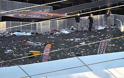 October 2, 2017 - Las Vegas, Nevada, U.S. - FBI investigators look over the scene of bodies that lay covered up with white sheets, after last nights mass shooting. The latest on victims is 59 dead, 527 injured last reported Monday night. The shooting happen during day 3 of the Route 91 Harvest Festival. (Credit Image: © Gene Blevins via ZUMA Wire)