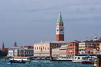 Italy, Venice. St Mark's Campanile and Doge's Palace.