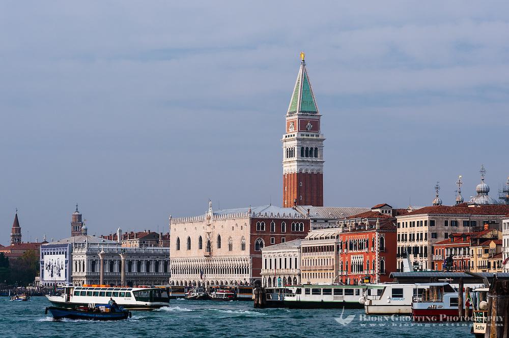 Italy, Venice. St Mark's Campanile and Doge's Palace.