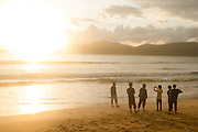Group taking sunset photographs, Red Island Beach, Red Island, Banyuwangi Regency, East Java, Indonesia, Southeast Asia