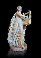 Roman statue of Apollo with a lyre, copied from an earlier 4th cebtury BC Hellenistic statue, from a group of Muses found in Villa de Cassius at Tivoli,  inv 310, Vatican Museum Rome, Italy,  white background ..<br /> <br /> If you prefer to buy from our ALAMY STOCK LIBRARY page at https://www.alamy.com/portfolio/paul-williams-funkystock/greco-roman-sculptures.html . Type -    Vatican    - into LOWER SEARCH WITHIN GALLERY box - Refine search by adding a subject, place, background colour, museum etc.<br /> <br /> Visit our CLASSICAL WORLD HISTORIC SITES PHOTO COLLECTIONS for more photos to download or buy as wall art prints https://funkystock.photoshelter.com/gallery-collection/The-Romans-Art-Artefacts-Antiquities-Historic-Sites-Pictures-Images/C0000r2uLJJo9_s0c