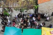 Overhead view of group of people at wedding celebration, Dubrovnik old town, Croatia