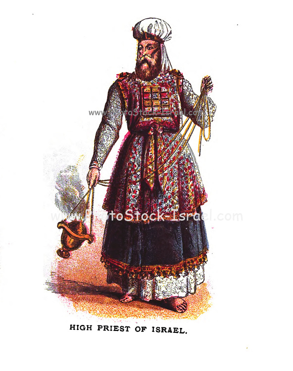 High Priest of Israel From the book ' Pictorial Description Of The Tabernacle in the Wilderness: Its Rites and Ceremonies ' A detailed description and pictorial guide of the Tabernacle as described in the Old Testament book of Exodus in the Bible, containing many colored illustrated pictures. by John Dilworth. Published by The Sunday School Union, London in 1878