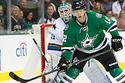 DALLAS, TX - OCTOBER 17:  Alex Chiasson #12 of the Dallas Stars stands in front of Antti Niemi #31 of the San Jose Sharks on October 17, 2013 at the American Airlines Center in Dallas, Texas.  (Photo by Cooper Neill/Getty Images) *** Local Caption *** Alex Chiasson; Antti Niemi