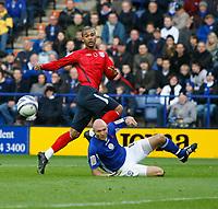 Photo: Steve Bond/Richard Lane Photography. Leicester City v West Bromwich Albion. Coca Cola Championship. 07/11/2009. Luke Moore (upper) shot goes wide as Wayne Brown slides in