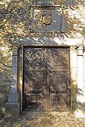Historic doorway Museo de la Coria museum, medieval town of Trujillo, Caceres province, Extremadura, Spain