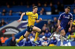 Kevin van Veen of Scunthorpe United runs with the ball past Branislav Ivanovic of Chelsea - Mandatory byline: Robbie Stephenson/JMP - 10/01/2016 - FOOTBALL - Stamford Bridge - London, England - Chelsea v Scunthrope United - FA Cup Third Round