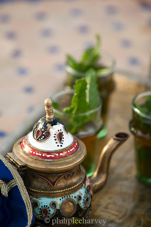A pot of fresh mint tea in Fes, Morocco