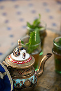 A pot of fresh mint tea in Fes, Morocco