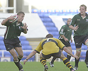 Reading, Berkshire, 29/09/02, London Irish vs Wasps,<br /> Exiles full back Mike Horak, attacks, the Wasps defence, during the ZURICH PREMIERSHIP RUGBY match at the Madejski Stadium,  [Mandatory Credit: Peter Spurrier/Intersport Images],