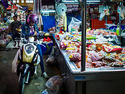 10 JULY 2018 - NAKHON PATHOM, THAILAND:  The market in Nakhon Pathom. Nakhon Pathom is about 35 miles west of Bangkok. It is one of the oldest cities in Thailand, archeological evidence suggests there was a settlement on the site of present Nakhon Pathom in the 6th century CE, centuries before the Siamese empires existed. The city is widely considered the first Buddhist community in Thailand and the nearly 400 foot tall Phra Pathom Chedi is considered the first Buddhist temple in Thailand.    PHOTO BY JACK KURTZ