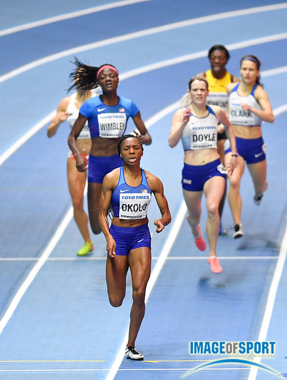 Courtney Okolo (USA) left leads Shakima Wimbley (USA) and Elidh Doyle (GBR) during the final of the Women's 400m which she went on to win in a personal best time of 50.55 during the evening session of the IAAF World Indoor Championships at Arena Birmingham in Birmingham, United Kingdom on Saturday, Mar 2, 2018. (Steve Flynn/Image of Sport)
