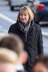 © Licensed to London News Pictures . 16/01/2014 . Salford , UK . HARRIET HARMAN MP for Camberwell and Peckham , arrives at the funeral . The funeral of Labour MP Paul Goggins at Salford Cathedral today (Thursday 16th January 2014) . The MP for Wythenshawe and Sale East died aged 60 on 7th January 2014 after collapsing whilst out running on 30th December 2013 . Photo credit : Joel Goodman/LNP