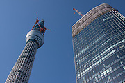 Tokyo Skytree under construction in Oshiage, Tokyo, Japan. Wednesday, December 29th 2010 When finished this telecommunications tower will measure 634 metres from top to bottom making it the tallest structure in East Asia..